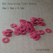 50pcs Red Insulating Fiber Washers (3mm x 8mm x 0.5mm)