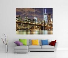 New York Skyline libertad Torre de Puente de Brooklyn Gigante Pared Arte Foto Afiche