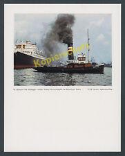 """Foto Agfacolor Hamburg Hafen Schleppkahn """"Brunshausen"""" Hapag Überseedampfer 1938"""
