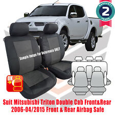Mitsubishi Triton Dual Cab Custom Made Seat Covers FR 2006-2015 Airbag 2 ROWS
