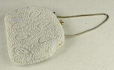 Vintage White Beaded Purse Evening Bag Hand Made Leaf Motif HONG KONG