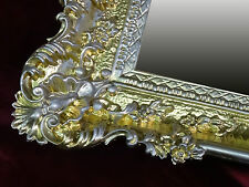 XXL Wandspiegel Rechteckig Gold / Silber BAROCK WANDDEKO Antik Spiegel 96x57 WOW
