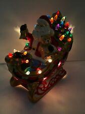 New Ceramic Christmas Tree Santa Sleigh lighted Multi Color Light Pegs 10� Long