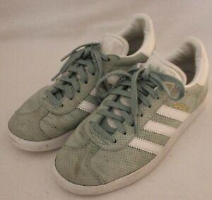 ADIDAS ~ Gazelle Mint Green Dots Suede White Striped Sneakers US 5 UK 3.5 EU 36
