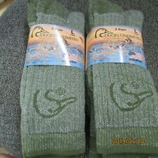 Ducks Unlimited 20% Merino Wool Sock~4 Pair,Green #718-6