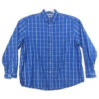 Wrangler Shirt Mens Size 2XL XXL Blue Check Long Sleeve Button Front Cotton