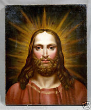 Jesus Christ Portrait, 19th Century Continental School Oil Painting