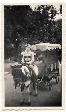 Petite fille sur poney avec carriole - photo ancienne amateur an. 1951