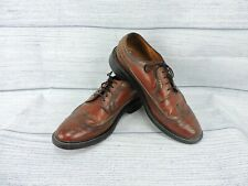 Vintage Men's Wingtip Dress Shoes Sz 9 Brown Made In USA Hipster Formal Work