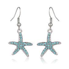 Aqua Starfish Fashionable Earrings - Fish Hook - Sparkling Crystal