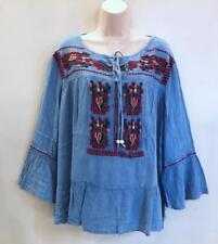 Hippie Bohemian Gyspy Festival Stonewashed Embroidered Peasant Top 218321 Blue