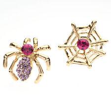 Itsy Bitsy Spider&Web Rhinestone Earrings  Pink/Goldtone