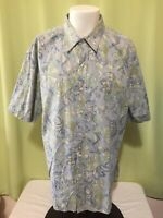 Tori Richard Men's Blue Green Floral Hawaiian Shirt Size XL Made in USA