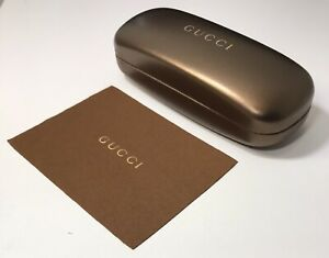 Gucci Sunglasses Eyeglasses Golden Hard Case With Cleaning Cloth Genuine