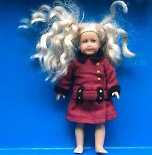 Mini American Girl Doll Dark Red And Black Coat Beautiful Blonde Hair Blue eyes
