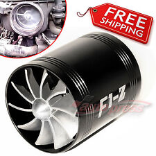 "TURBO F1Z Air Intake Fuel Gas Saver DOUBLE Fan Universal 64-74mm / 2.5""-3.0"" BLK"