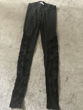 New Look Black Tights With Floral Pattern Size 8 BNWOT