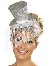 Silver Glitter Mini Top Hat on a Headband