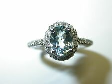 AQUAMARINE AND DIAMOND RING 1.55 CT  TOTAL 14 K WHITE GOLD GENUINE AQUAMARINE