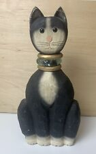 James Haddon Signed hand carved wooden Cat Hand Painted blown glass collar 12�