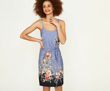 OASIS DRESS Stretchy CAMI Chambray BLUE ROSES Tie Belt  Sz S 10 NEW
