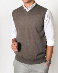 Mens Merino Wool Blend V Neck Vest Sweater Machine Wash Fast Shipping Woodmix
