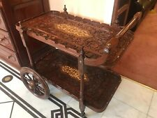 Antique drinks trolley, Beautiful Wooden carved tops. With Glass.