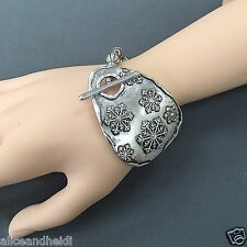 Antique Silver Clear Rhinestone Snowflake Charm Unique Bead Stretchable Bracelet