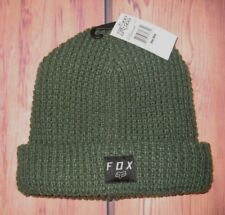 MENS FOX FLEECE LINED GREEN BEANIE HAT CAP ONE SIZE