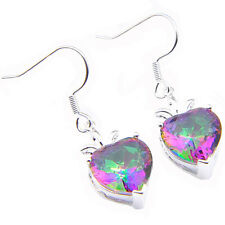 Valentine's Gifts Shiny Heart-shaped Rainbow Mystical Topaz Gems Silver Earrings