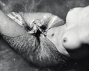 1968 Vintage Female Nude By LUCIEN CLERGUE Woman Water Wave Ocean Abstract 11x14