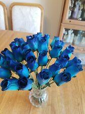 3 DOZEN - LIGHT BLUE/ BLUE WOODEN ROSE BUDS 5 X 8 ARTIFICIAL FLOWERS