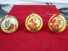 CHRISTMAS ORNAMENTS SANTA BIRD PRESENTS HOLIDAY SET OF 3 UNBREAKABLE ANTIQUE