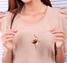 Crystal Coffee Stone Ballet Girl Pendant Necklace Gold Plated Sweater Chain