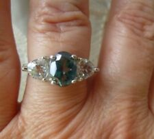 Sterling Silver White & Green Topaz Filigree Ring 8 x 6 Oval 5mm Trillion Size 8