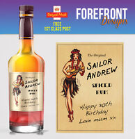 Personalised Spiced Rum, Navy rum bottle label Perfect Birthday Gift