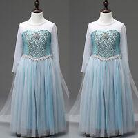 Princess Elsa Anna Frozen Kids Girls Halloween Costume Cosplay Fancy Dress 4-10Y