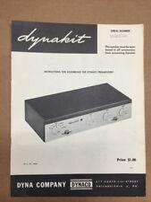 Dynaco / Dynakit Preamplifier Service / Assembly Manual *Original*