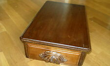 1900 Edwardian Oak Box with Drawer, Beautiful Carved Wood Pull