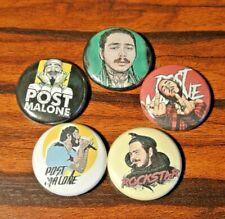 "Post Malone 1"" inch pinback Buttons Pins Badge rapper Posty Rockstar set of 5"