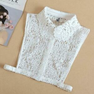 Embroidered Floral Lace Fake Collar Sweater Decorative Button Half Shirt Blouse