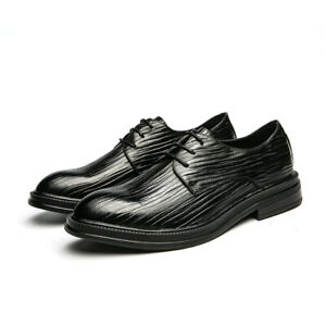 Business New Men's Oxford Shoes Round Toe Flat Lace-Up Office Shoes Oversized