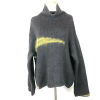 City DKNY Oversized Chunky Knit Pullover Sweater Black Wool Alpaca Size XL