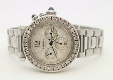 Cartier Pasha 2113 Mens Automatic Watch Silver Dial SS 38mm Diamond Bezel
