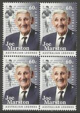 AUSTRALIA 2012 JOE MARSTON Soccer Football LEGEND BLOCK of 4 1v MNH