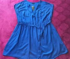 BNWT NEW LOOK INSPIRE COBALT BLUE MINI TUNIC DRESS SIZE 24 26 ♡♡♡