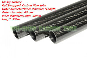 3K Carbon Fiber Tubes OD 40mm ID 36mm  37mm 38mm  Roll Wrapped X 500MM