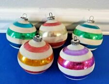 5 Vintage GLASS CHRISTMAS TREE ORNAMENTS Ball West Germany Colorful Stripes