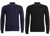 Mens Long Sleeve Polo Shirt Top Ex Next 100% Cotton Waffle Collar Jumper S - 3XL