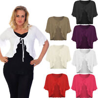 Ladies Women's Plus Size Plain Tie Up Short Sleeve Frill Edges Shrug Top 16-26